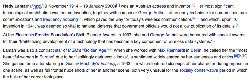 Screenshot of Hedy Lamarr's Wikipedia, in January 2014