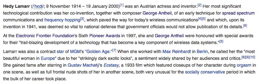 Screenshot of Hedy Lamarr's Wikipedia, in January 2014