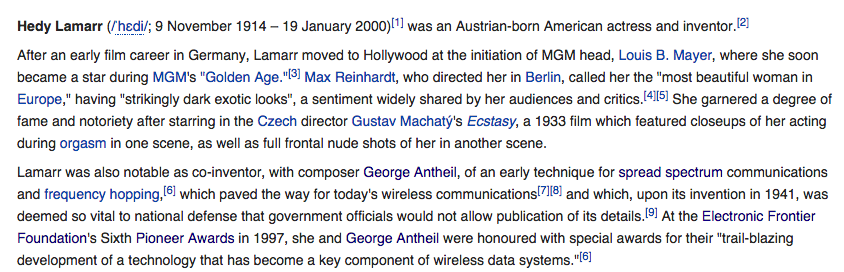 Screenshot of Hedy Lamarr's Wikipedia, in August 2014