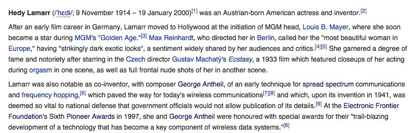 Screenshot of Hedy Lamarr's Wikipedia, in August 2014