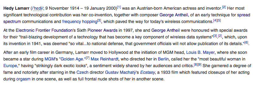 Screenshot of Hedy Lamarr's Wikipedia, August 19 2014
