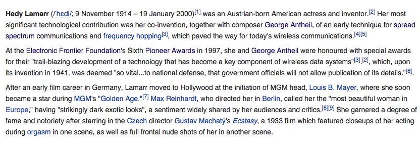 Screenshot of Hedy Lamarr's Wikipedia, August 19 2014