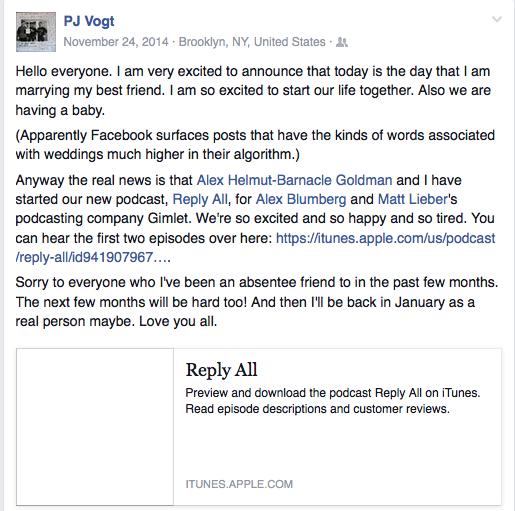 screenshot of PJ Vogt's facebook feed